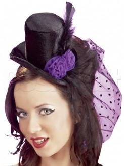 Cappello Velluto Burlesque Nero Viola